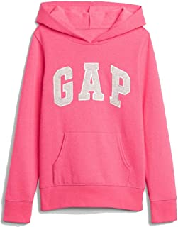 Fleece Arch Logo Pullover Hoodie (X-Large, Pink (Grey Logo))