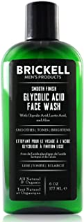 Brickell Men's Smooth Finish Glycolic Acid Face Wash For Men, Natural and Organic, Anti-Aging Face Cleanser with Glycolic ...