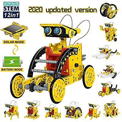 Limei 2 in 1 Solar Robot Science Kit STEM Educational Engineer Toys 12-in-1 Building Set 190 Pieces DIY Robot Battery Drived or Solar Powered by the Sun