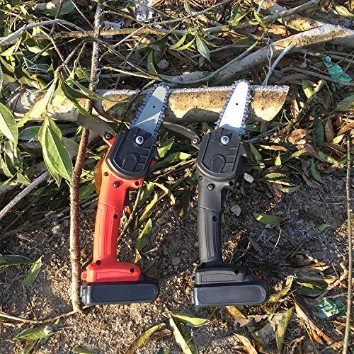 Riiai Mini motosierra, 10,2 cm, sin cable, portátil con batería recargable con una sola mano, tijeras de poda, motosierra para corte de madera y jardín negro