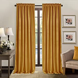 SOFJAGETQ Velvet Curtains - 2 Panles Burnt Yellow Luxury Curtains Drapes Room Darkening Rod Pocket Light Blocking for Bedroom and Living Room Decor, Elegant Cortinas para Sala, 52 x 84 Inches Long