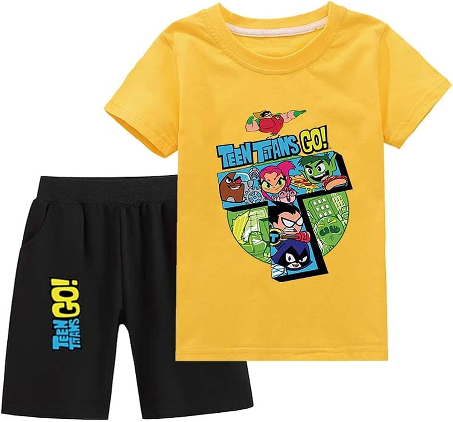 Teen Titans Go! Boys and Girls Clothes Cotton Short-Sleeved T-Shirts and Shorts Summer Clothing Suits Shorts Suits (Yellow,110)