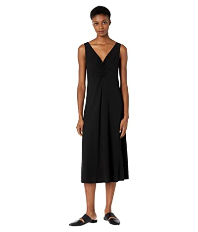 Vince Double Ruched V-Neck Dress (Black) Women