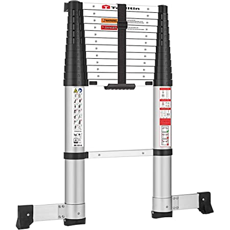 TOOLITIN 12.5 FT Pro Telescoping Ladder, One Button Retraction Aluminum Telescopic Extension Ladder,Slow Down Design Extendable Ladders Portable for Household Daily or RV Work,330 Pound Capacity