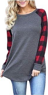 aihihe Womens Long Sleeve Tunic Tops Sweatshirt Plaid Print Blouses T-Shirt Tees Casual Loose Tunic Pullovers