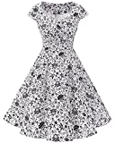 Women's 1950s Plus Size Vintage Cocktail Party Swing Dress Floral Printed A-Line Skater Dress White Skull XL