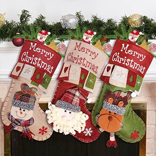 Calcetines de Navidad, 3 unidades, 47 cm, de fieltro, diseño de Papá Noel, muñeco de nieve, reno