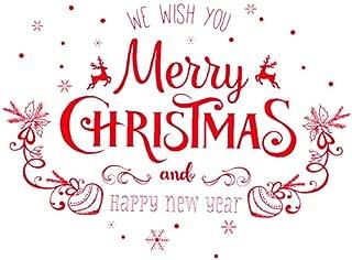Pegatinas de pared de ventana de Navidad Letras felices para niños Sala de estar Vidrio de ventana Vinilo decorativo DIY Pegatinas de pared extraíbles Pegatinas de ventana de dormitorio