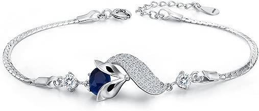 EleQueen 925 Sterling Silver Cubic Zirconia Lovely Fox Leaf Bracelet Chain