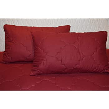 Trance Home Linen Cotton Dust-free Water Resistant Quilted Protector Covers (19 x 29 inches, Maroon) -Pack of 2pcs