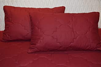 Trance Home Linen Cotton Quilted Pillow Protector Dust Free Water Resistant Covers Pack of 2pcs (28 X 18 Maroon)