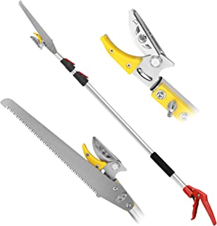 Pole saws for tree trimming, Telescopic Long Reach Pruner 4.5-9.6 Feet | Long Handled Fruit Picker | Garden bypass Tree Lopper pruning shears With Pole Saw by Belpink