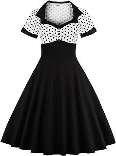 21ee2da08c92 Yacun Women Vintage Dress Polka Dot Cocktail Swing Dress Rockabilly 1940s  50s
