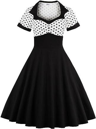 fca8d1d105e Yacun Women Vintage Dress Polka Dot Cocktail Swing Dress Rockabilly 1940s  50s