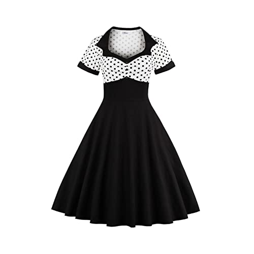 77779620714e YACUN Women s Vintage 1940s Polka Dot Fit And Flare Midi Swing Party Dress