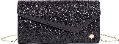 Hexagona Damen Paris Clutch aus der Kollektion Queen, schwarz, glitzernd, aus Synthetik, für Zeremonie, Hochzeit, Damentasche, Handy-Tasche, L : 21 x h : 11 x P : 6 cm
