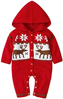 Goldweather Infant Newborn Baby Boy Girls Knit Sweater Romper Christmas Deer Fall Winter Jumpsuits Hooded Cardigan Outwear (0-6 Months, Red)