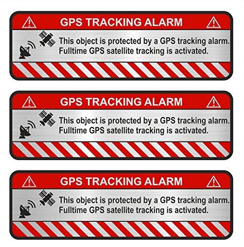 Finest-Folia 9x GPS sticker fiets motorfiets auto alarm waarschuwing anti-diefstal sticker tracker beveiligd Object Aluminium Schliff Silber