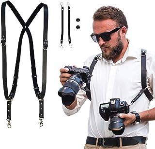 DV Right Shoulder, Brown HuiDao Camera Shoulder Strap Universal Leather Adjustable Right Shoulder Harness for DSLR Cameras