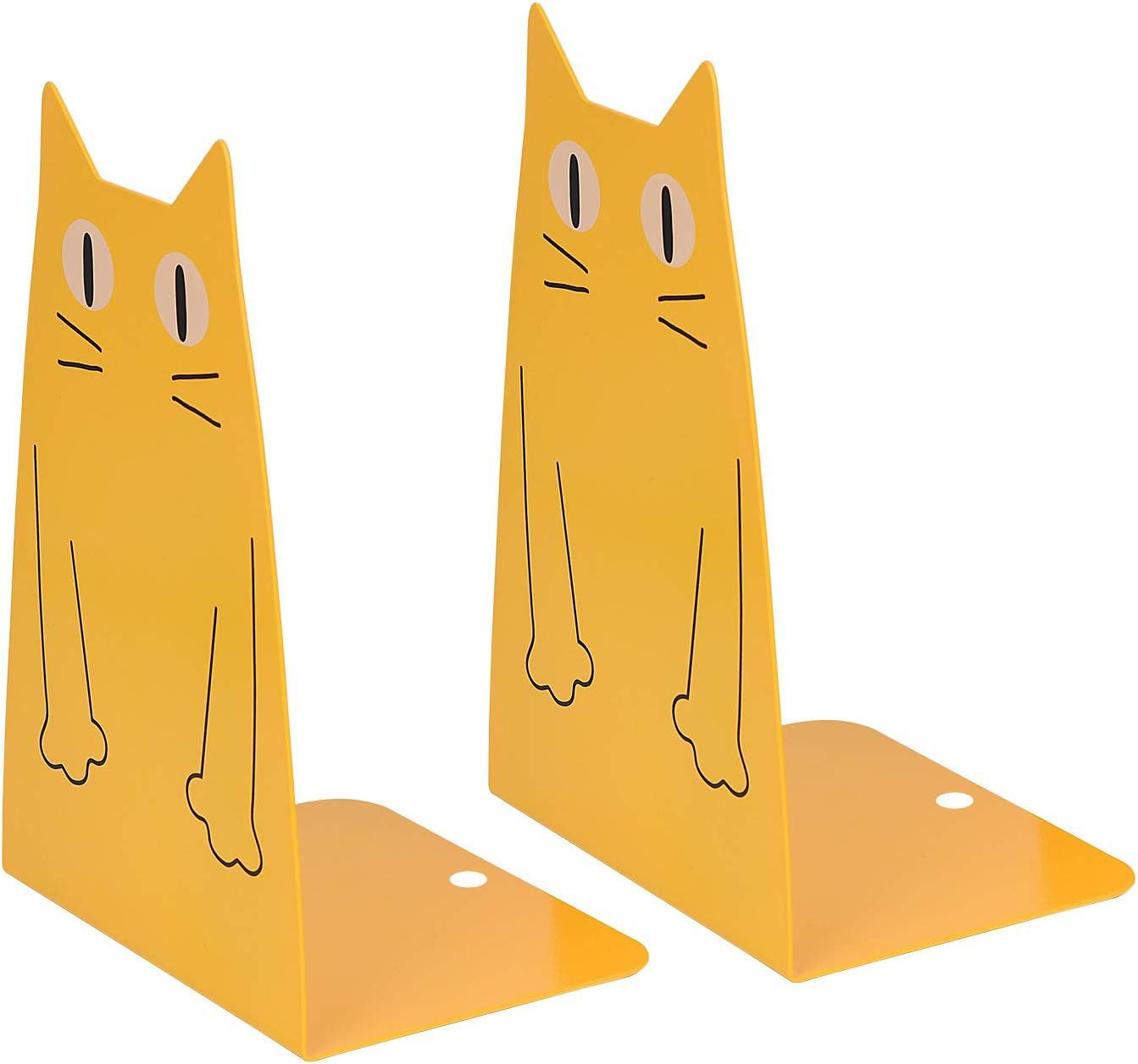 decorazione per casa colore: giallo Fermalibri in metallo per gatti biblioteca 1 paio di simpatici e resistenti ufficio Kioneer ideali per la scuola