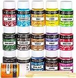 Epoxidharz Farbe, LEOBRO 16er×10G Metallic Mica Pulver mit löffel und Rührstäbchen, Seifenfarbe...