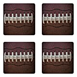 Lunarable Sports Coaster Set of 4, American Football Leather Laces Fun Traditional Sport Close up Photo Print, Square Hardboard Gloss Coasters, Standard Size, Brown Beige