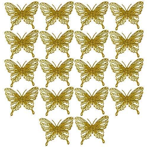 Robelli Christmas Tree Decorations - Glitter Butterflies X 18 (Gold)