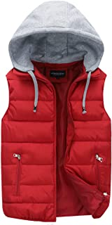 YOUTHUP Mens Gilets Quilted Body Warmer Light-Weight Hooded Sleeveless Jacket Outdoor Waistcoats