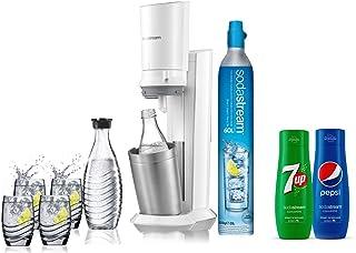 Sodastream pack spécial machine crystal en alu brossé gris/blanc+ 2 carafes en verre de 0.6L, 4 verres, 1 concentré Pepsi ...