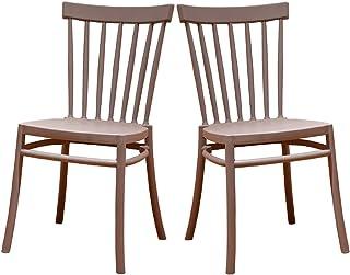 2 Sillas Windsor Color Gris, Sillas de Comedor plástico. Incluye 2 sillas. Elegantes para Cocina o Comedor, apilables y Muy Resistentes.