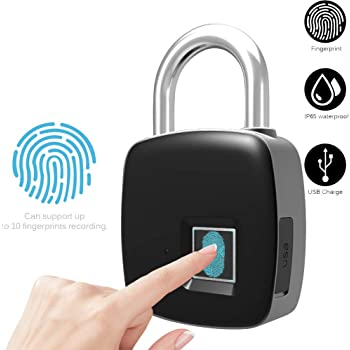 Lucchetto Antifurto Impronta Digitale Smart Keyless Impermeabile Blocco Bluetooth APP Controllo Impermeabile Lucchetto nero Porta Serratura