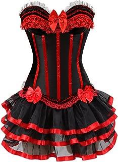 frawirshau Gothic Halloween Lace up Corset Skirt Moulin Rouge Showgirl Clubwear