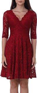 Womens V Neck Sleeveless Casual Elegant Lace Midi Dress 1592 Burgundy, L