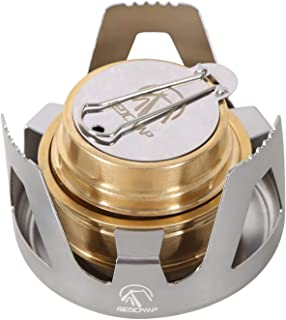 REDCAMP Mini Alcohol Stove for Backpacking, Lightweight Brass Spirit Burner with Aluminium Stand for Camping Hiking