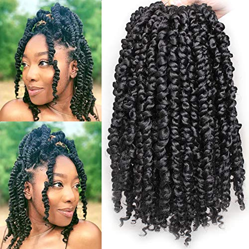 Leeven Short 7 Packs Pre-twisted Bob Passion Twist Crochet Hair with Curly Ends 12 Inch Pre looped Black Passion Twists Hair 12 Roots/Pack Synthetic Bohemian Crochet Braids Hair for Black Women 1B#