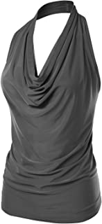 Women's Halter Neck Ruched Draped Stretchy Sexy Backless Tank Top (S-XL)