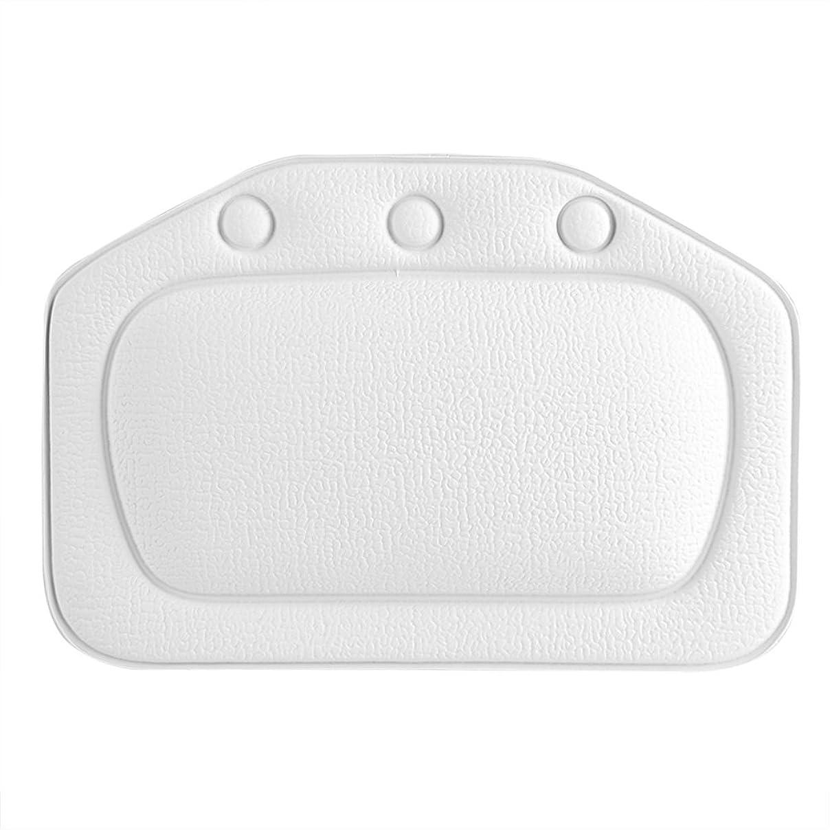 マングル貧しいドライブスパバスピロー、ソフトフォームパッド付き人間工学に基づいたバスタブクッションピロー浴槽ヘッドレストヘッドネックバッククッションピロー(白)