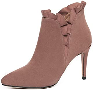 BalaMasa Womens Dress High-Heels Fringed Leather Boots ABM13530