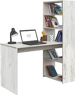 COMIFORT Escritorio con Estantería - Mesa de Estudio con Librería de Estructura Firme, Moderna y Minimalista con 4 Baldas ...