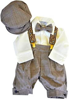 Just Darling Infant & Toddler Boys Vintage Style Knickers Outfit Suspenders, Bowtie & Cap