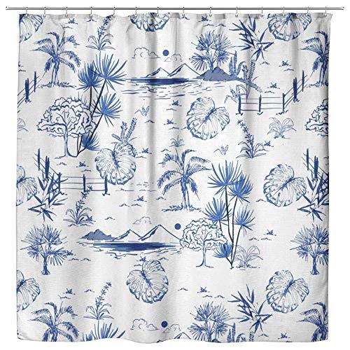 Tropical Vintage Blue Toile Shower Curtain - Beach Shower Curtains, Nautical Bathroom Decor, Fun Blue Coastal Bath Curtains, Tropical Dorm Decor