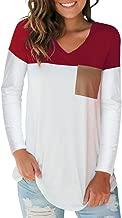 SAMPEEL Women's Basic V Neck T Shirt with Suede Pocket S-XXL