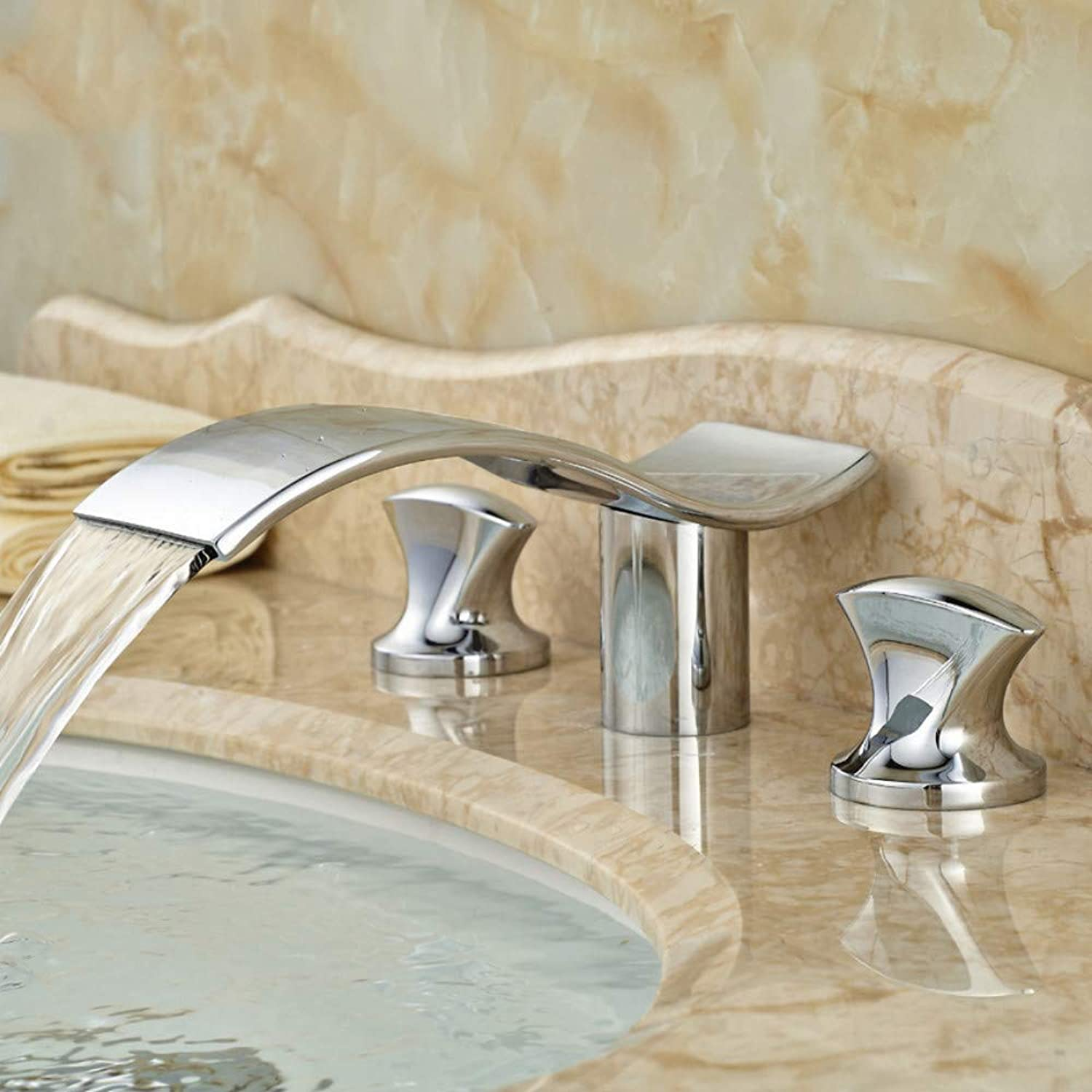 Ayhuir Dual Handle Luxury Bathroom Sink Faucet Chrome Finish Waterfall Basin Mixer Tap