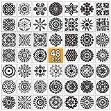 E-More 48 Piezas Plantilla de Pintura, Reutilizable Plantillas Mandala, Plantillas de...