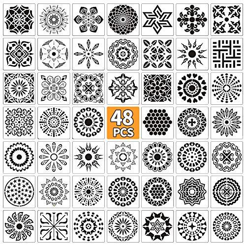 E-More 48 Stück Mandala Schablone Vorlage Wiederverwendbare Mandala Schablonen Zeichenschablonen Muster Kunstwerkzeuge für Bullet Journal, Scrapbooking, Fotoalbum Malen Vorlagen Kinder