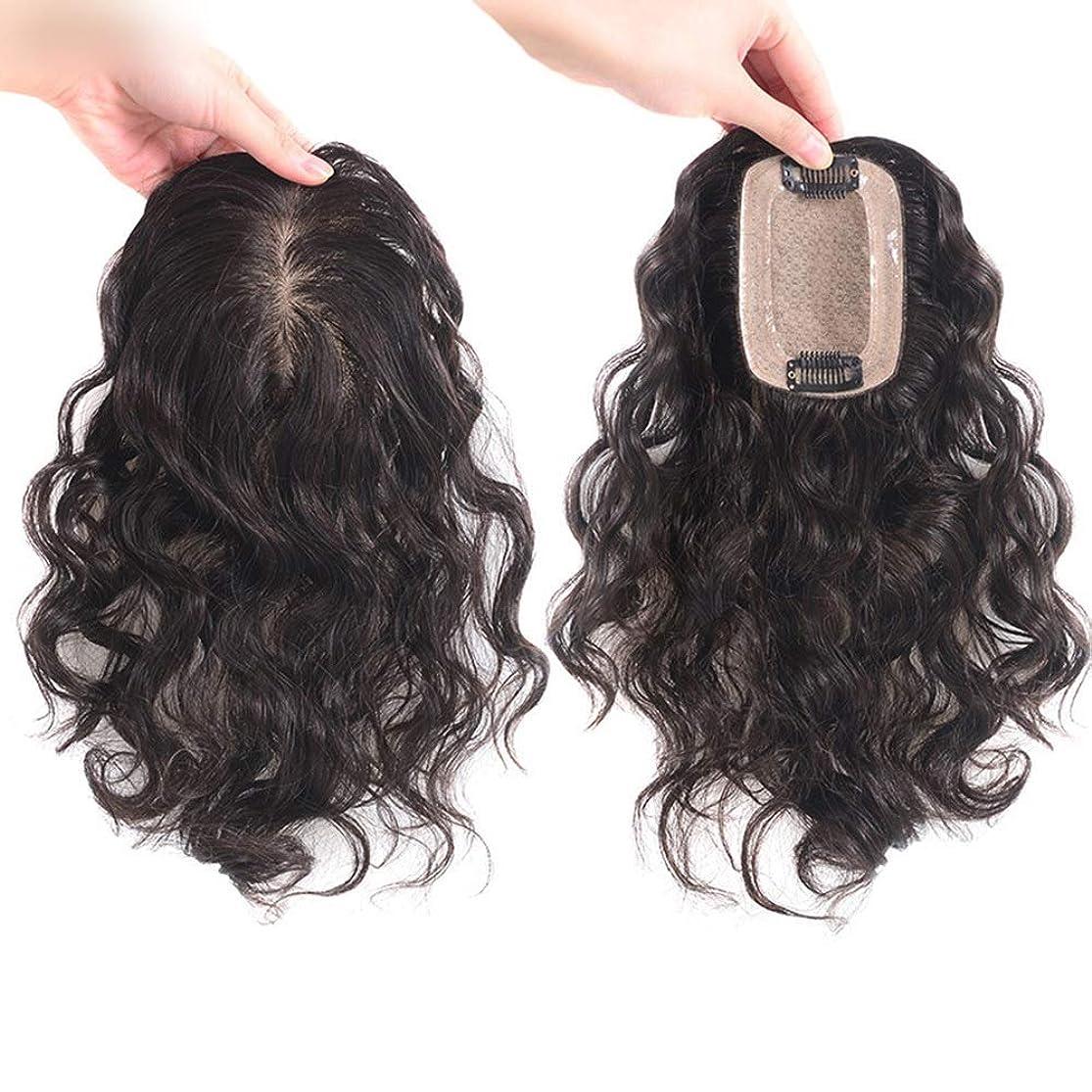 縞模様の画家設置Yrattary 女性のフルハンドウィービング針本物の髪カーリーヘアーナチュラルブルネットトップ交換ブロック見えないかつら合成毛髪のレースのかつらロールプレイングかつら (色 : [7x10] dark brown 20cm)