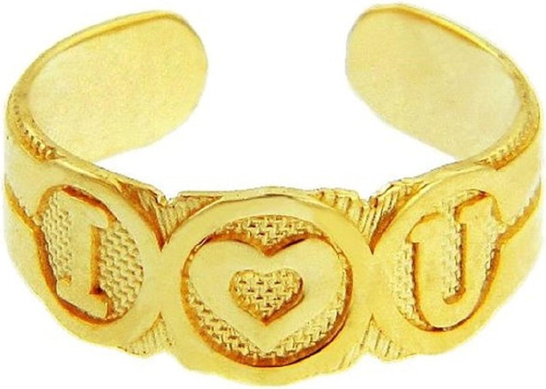 10k gold  I Heart U  Toe Ring