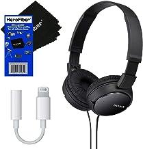 Sony MDRZX110 ZX Series Stereo Headphones (Black) with Adapter for Apple iPhone, iPod & iPad & HeroFiber Ultra Gentle Clea...