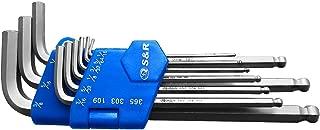 S&R Llaves Allen - Juego 9 llaves allen hexagonales en Pulgadas con una cabeza esférica, largas 1/16 a 3/8 en Acero al Niquel