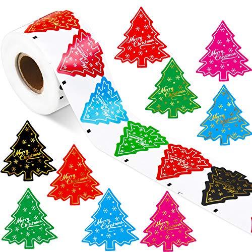 500 Piezas de Pegatinas de Árbol de Navidad Etiquetas Adhesivas de Merry Christmas Pegatinas de Fiesta con Diseño de Árbol Elementos Navideños para Tarjetas Regalo Sobre Bolsa Sellados